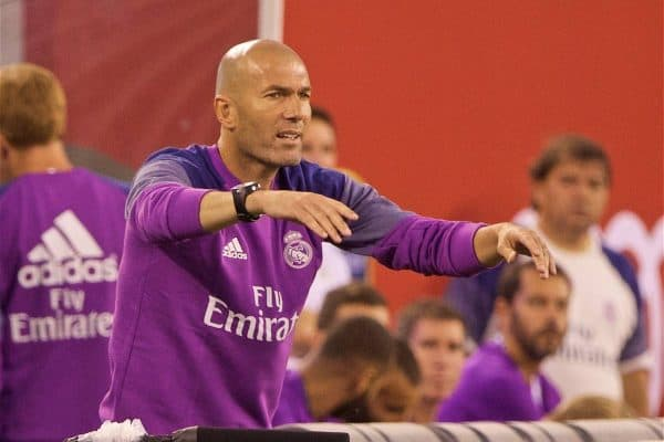 NEW JERSEY, USA - Wednesday, August 3, 2016: Real Madrid's head coach Zinedine Zidane during the International Champions Cup match against Real Madrid at the Red Bull Arena. (Pic by David Rawcliffe/Propaganda)