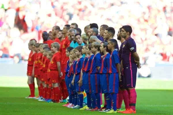 LONDON, ENGLAND - Saturday, August 6, 2016: Barcelona's Luis Suarez lines-up against Liverpool before the International Champions Cup match at Wembley Stadium. (Pic by David Rawcliffe/Propaganda)