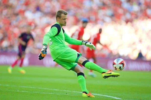 LONDON, ENGLAND - Saturday, August 6, 2016: Liverpool's goalkeeper Simon Mignolet in action against Barcelona during the International Champions Cup match at Wembley Stadium. (Pic by David Rawcliffe/Propaganda)