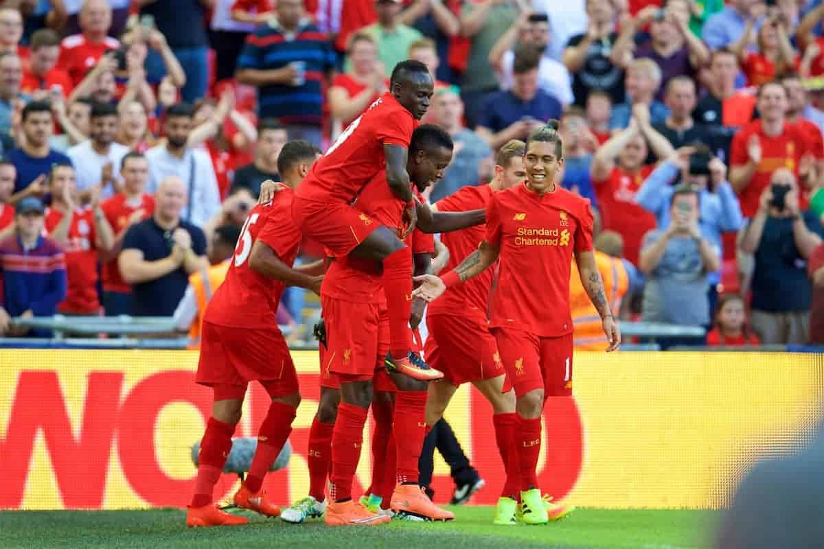 LONDON, ENGLAND - Saturday, August 6, 2016: Liverpool's Divock Origi celebrates scoring the third goal against Barcelona during the International Champions Cup match at Wembley Stadium. (Pic by David Rawcliffe/Propaganda)