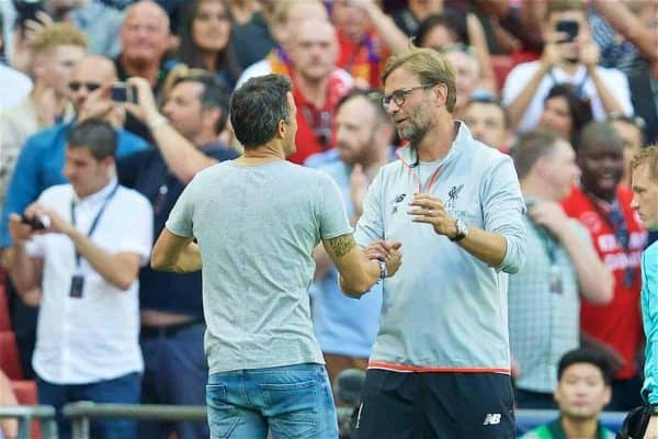 LONDON, ENGLAND - Saturday, August 6, 2016: Liverpool's manager Jürgen Klopp shakes hands with Barcelona's head coach Luis Enrique after the 4-0 victory during the International Champions Cup match at Wembley Stadium. (Pic by David Rawcliffe/Propaganda)