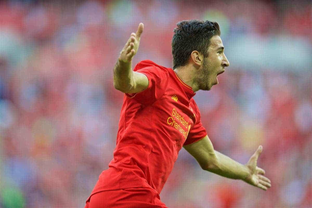 LONDON, ENGLAND - Saturday, August 6, 2016: Liverpool's Marko Grujic celebrates scoring the fourth goal against Barcelona during the International Champions Cup match at Wembley Stadium. (Pic by David Rawcliffe/Propaganda)