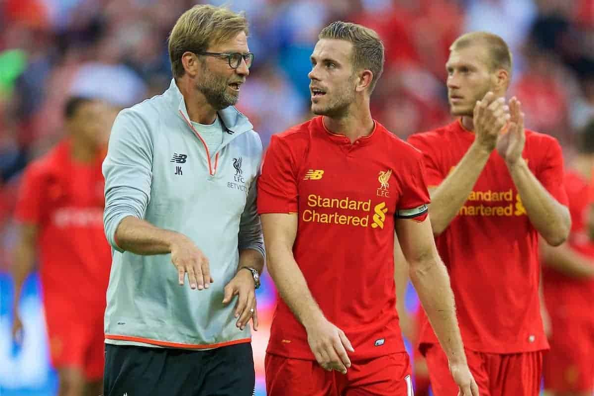LONDON, ENGLAND - Saturday, August 6, 2016: Liverpool's manager Jürgen Klopp and captain Jordan Henderson after the 4-0 victory over FC Barcelona during the International Champions Cup match at Wembley Stadium. (Pic by David Rawcliffe/Propaganda)
