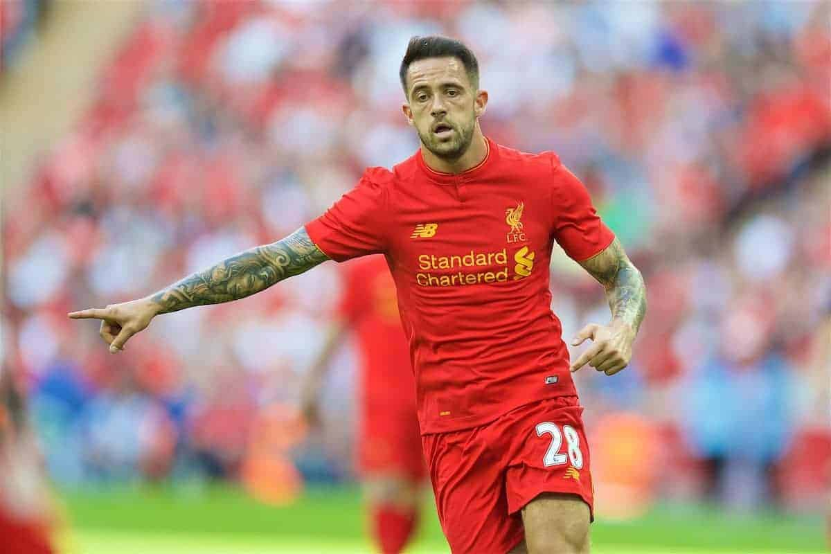 LONDON, ENGLAND - Saturday, August 6, 2016: Liverpool's Danny Ings in action against Barcelona during the International Champions Cup match at Wembley Stadium. (Pic by David Rawcliffe/Propaganda)