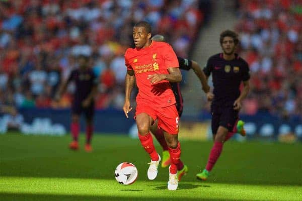 LONDON, ENGLAND - Saturday, August 6, 2016: Liverpool's xxxx in action against Barcelona during the International Champions Cup match at Wembley Stadium. (Pic by David Rawcliffe/Propaganda)