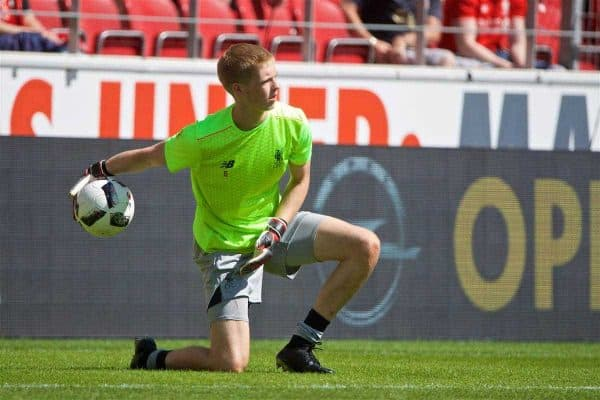MAINZ, GERMANY - Sunday, August 7, 2016: Liverpool's goalkeeper Caoimhin Kelleher warms-up before a pre-season friendly match against FSV Mainz 05 at the Opel Arena. (Pic by David Rawcliffe/Propaganda)