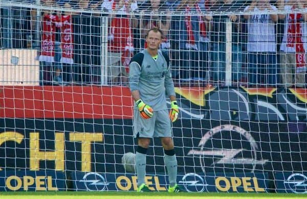 MAINZ, GERMANY - Sunday, August 7, 2016: Liverpool's goalkeeper Alex Manninger looks dejected as FSV Mainz 05 score the second goal during a pre-season friendly match at the Opel Arena. (Pic by David Rawcliffe/Propaganda)