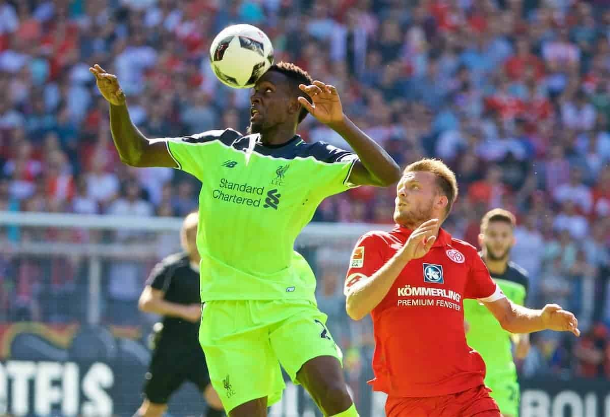 MAINZ, GERMANY - Sunday, August 7, 2016: Liverpool's Divock Origi in action against FSV Mainz 05 during a pre-season friendly match at the Opel Arena. (Pic by David Rawcliffe/Propaganda)