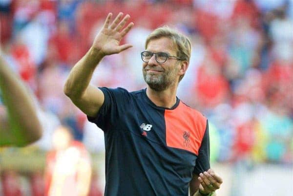 Liverpool's manager Jürgen Klopp applauds the FSV Mainz 05 supporters after the pre-season friendly match at the Opel Arena. (Pic by David Rawcliffe/Propaganda)