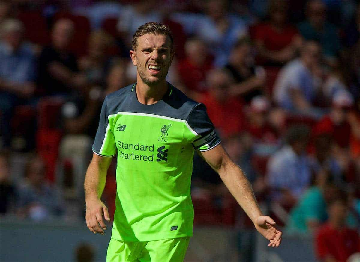 MAINZ, GERMANY - Sunday, August 7, 2016: Liverpool's captain Jordan Henderson in action against FSV Mainz 05 during a pre-season friendly match at the Opel Arena. (Pic by David Rawcliffe/Propaganda)