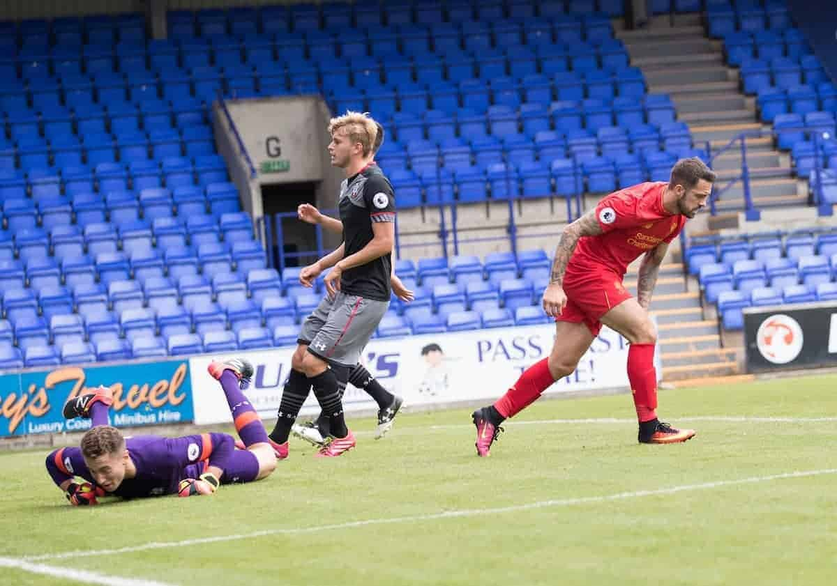 BIRKENHEAD, ENGLAND - Sunday, August 14, 2016: Liverpool's Danny Ings in action against Southampton during the Under-23 FA Premier League 2 match at Prenton Park. (Pic by Gavin Trafford/Propaganda)
