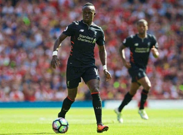 LONDON, ENGLAND - Sunday, August 14, 2016: Liverpool's Sadio Mane in action during the FA Premier League match against Arsenal at the Emirates Stadium. (Pic by David Rawcliffe/Propaganda)