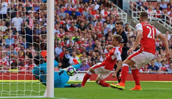 LONDON, ENGLAND - Sunday, August 14, 2016: Liverpool's Adam Lallana scores the second goal against Arsenal during the FA Premier League match at the Emirates Stadium. (Pic by David Rawcliffe/Propaganda)