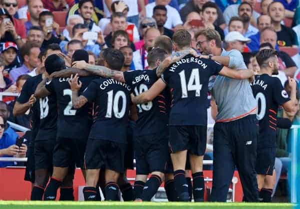 LONDON, ENGLAND - Sunday, August 14, 2016: Liverpool players celebrates scoring the fourth goal against Arsenal with manager Jürgen Klopp during the FA Premier League match at the Emirates Stadium. (Pic by David Rawcliffe/Propaganda)