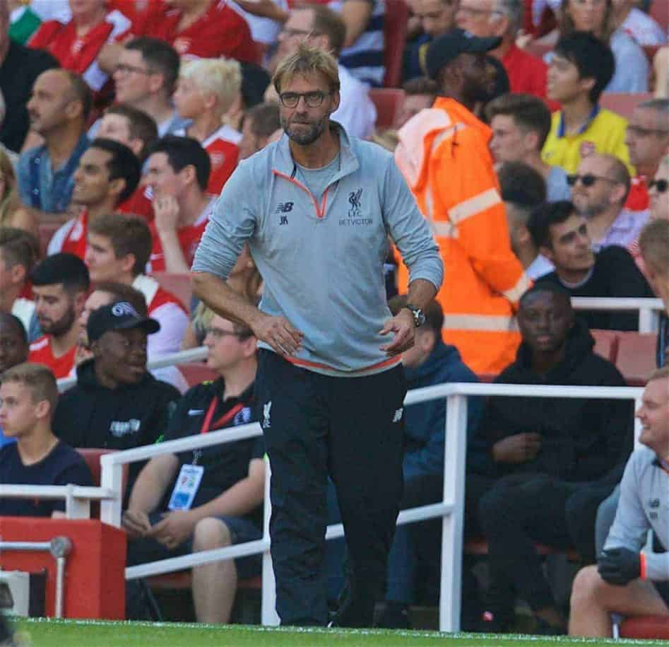 LONDON, ENGLAND - Sunday, August 14, 2016: Liverpool's manager Jürgen Klopp celebrates the second goal against Arsenal during the FA Premier League match at the Emirates Stadium. (Pic by David Rawcliffe/Propaganda)