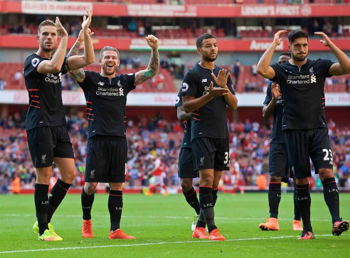 LONDON, ENGLAND - Sunday, August 14, 2016: Liverpool players thanking supporters after the 3-4 victory over Arsenal at the Emirates Stadium. (Pic by David Rawcliffe/Propaganda)