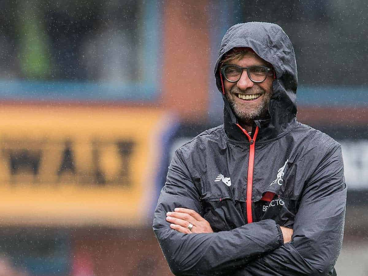 BURNLEY, ENGLAND - Saturday, August 20, 2016: Liverpool's manager Jürgen Klopp before the FA Premier League match at Turf Moor against Burnley. (Pic by Gavin Trafford/Propaganda)