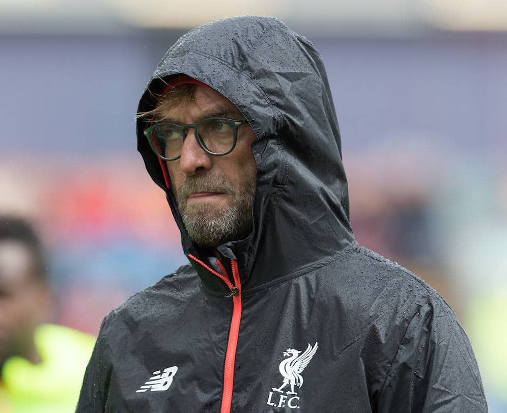 BURNLEY, ENGLAND - Saturday, August 20, 2016: Liverpool's J¸rgen Klopp before Kick Off against Burnley during the FA Premier League match at Turf Moore. (Pic by Gavin Trafford/Propaganda)