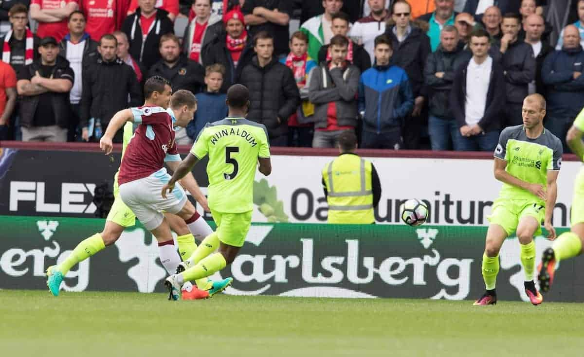 BURNLEY, ENGLAND - Saturday, August 20, 2016: Sam Volkes scores for Burnley during the FA Premier League match at Turf Moore. (Pic by Gavin Trafford/Propaganda)