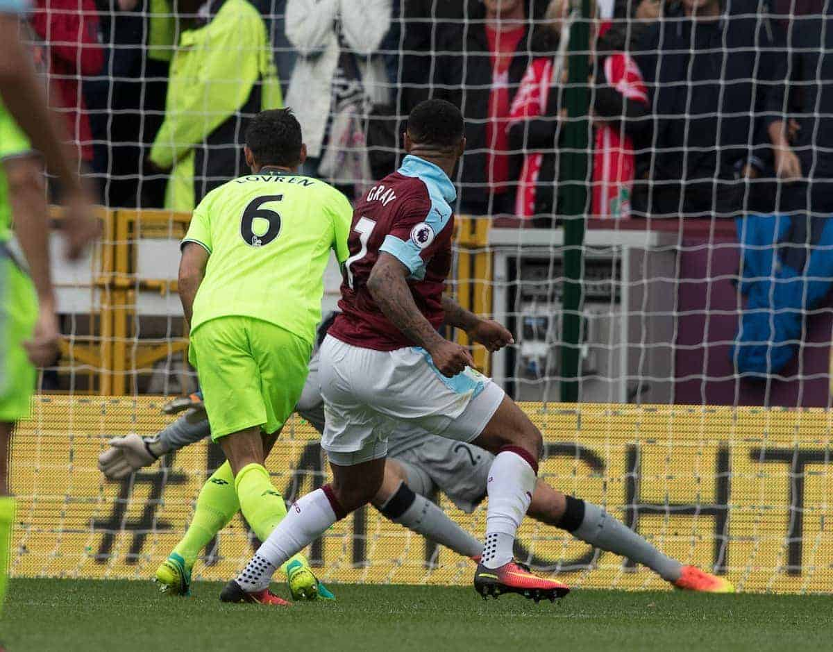 BURNLEY, ENGLAND - Saturday, August 20, 2016: Andre Gray scores for Burnley during the FA Premier League match at Turf Moore. (Pic by Gavin Trafford/Propaganda)