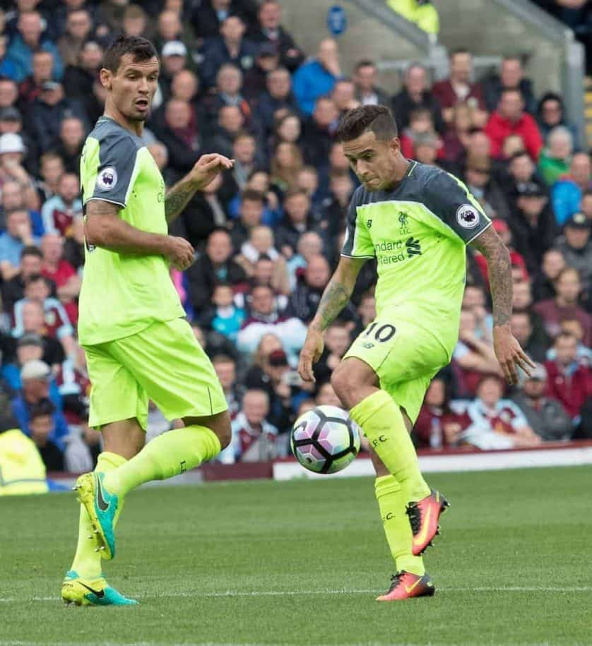 BURNLEY, ENGLAND - Saturday, August 20, 2016: Liverpool's Philippe Coutinho in action against Burnley during the FA Premier League match at Turf Moore. (Pic by Gavin Trafford/Propaganda)