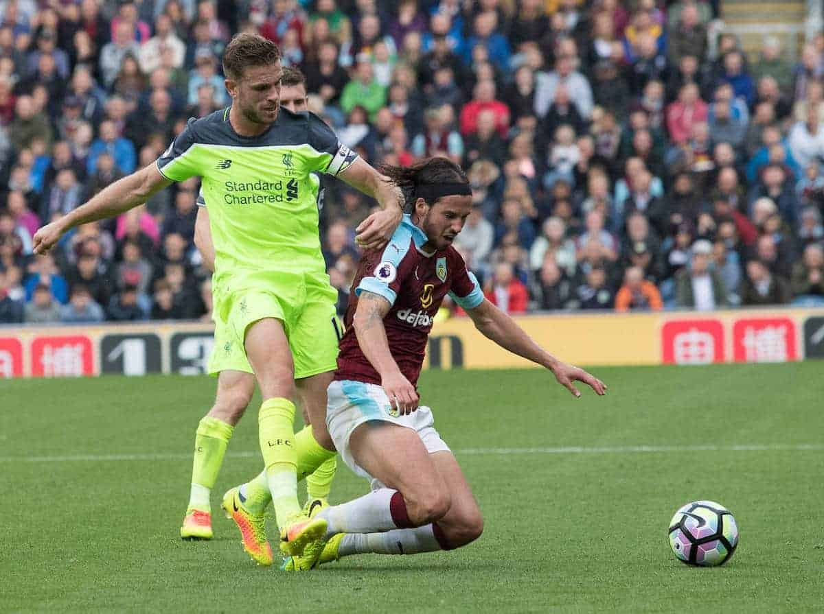BURNLEY, ENGLAND - Saturday, August 20, 2016: Liverpool's Jordan Henderson of Liverpool battles for the ball with George Boyd of Burnley in action the FA Premier League match at Turf Moore. (Pic by Gavin Trafford/Propaganda)