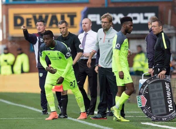 BURNLEY, ENGLAND - Saturday, August 20, 2016: Liverpool's Daniel Sturbridge is substituted for Divock Origi against Burnley during the FA Premier League match at Turf Moore. (Pic by Gavin Trafford/Propaganda)