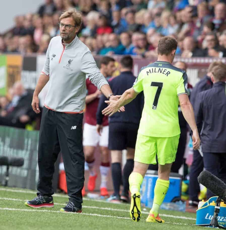 BURNLEY, ENGLAND - Saturday, August 20, 2016: Liverpool's Jürgen Klopp shakes James Milner hand as he is substituted against Burnley during the FA Premier League match at Turf Moore. (Pic by Gavin Trafford/Propaganda)
