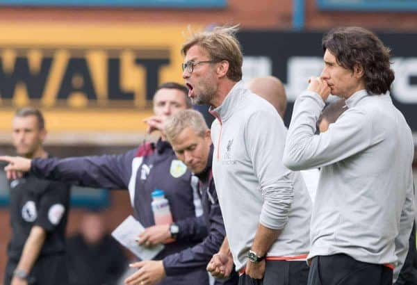 BURNLEY, ENGLAND - Saturday, August 20, 2016: Liverpool's Manager Jürgen Klopp shouts to his players during the FA Premier League match at Turf Moore. (Pic by Gavin Trafford/Propaganda)