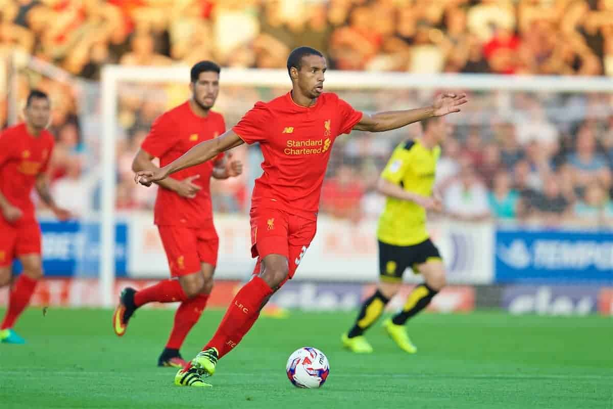 BURTON-UPON-TRENT, ENGLAND - Tuesday, August 23, 2016: Liverpool's Joel Matip in action against Burton Albion during the Football League Cup 2nd Round match at the Pirelli Stadium. (Pic by David Rawcliffe/Propaganda)