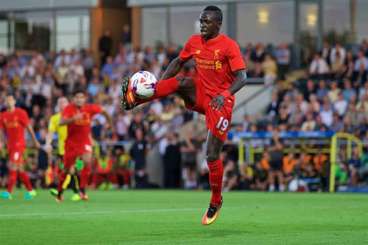 BURTON-UPON-TRENT, ENGLAND - Tuesday, August 23, 2016: Liverpool's Sadio Mane in action against Burton Albion during the Football League Cup 2nd Round match at the Pirelli Stadium. (Pic by David Rawcliffe/Propaganda)