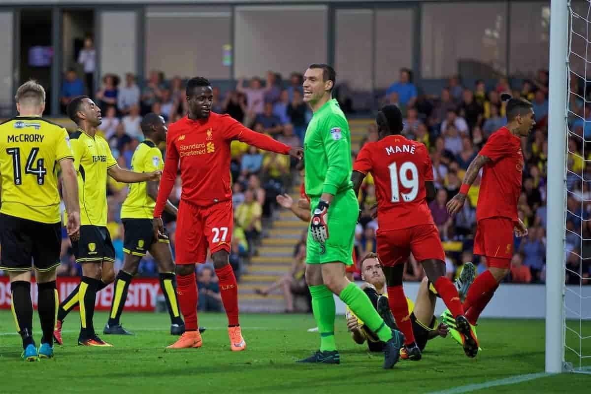 BURTON-UPON-TRENT, ENGLAND - Tuesday, August 23, 2016: Liverpool's Divock Origi celebrates scoring the first goal against Burton Albion during the Football League Cup 2nd Round match at the Pirelli Stadium. (Pic by David Rawcliffe/Propaganda)