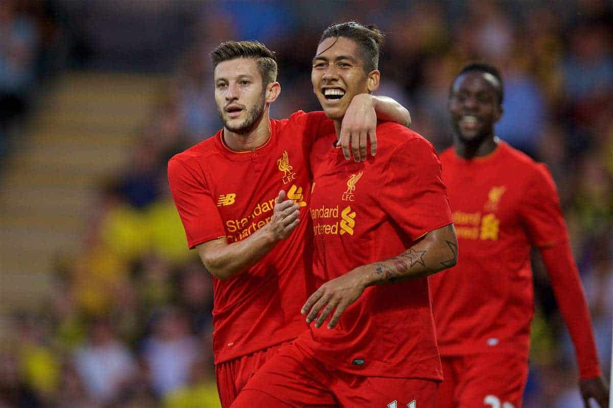 BURTON-UPON-TRENT, ENGLAND - Tuesday, August 23, 2016: Liverpool's Roberto Firmino celebrates scoring the second goal against Burton Albion with team-mate Adam Lallana during the Football League Cup 2nd Round match at the Pirelli Stadium. (Pic by David Rawcliffe/Propaganda)