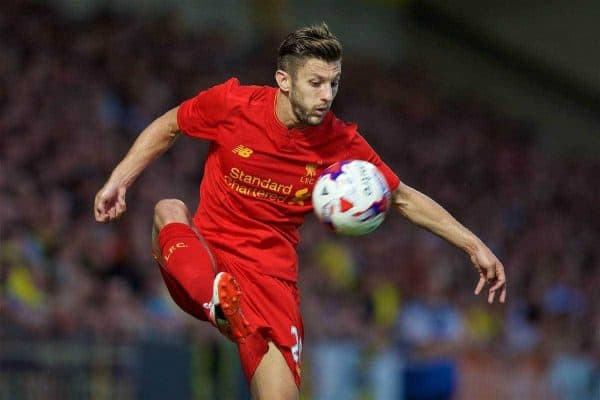 BURTON-UPON-TRENT, ENGLAND - Tuesday, August 23, 2016: Liverpool's Adam Lallana in action against Burton Albion during the Football League Cup 2nd Round match at the Pirelli Stadium. (Pic by David Rawcliffe/Propaganda)