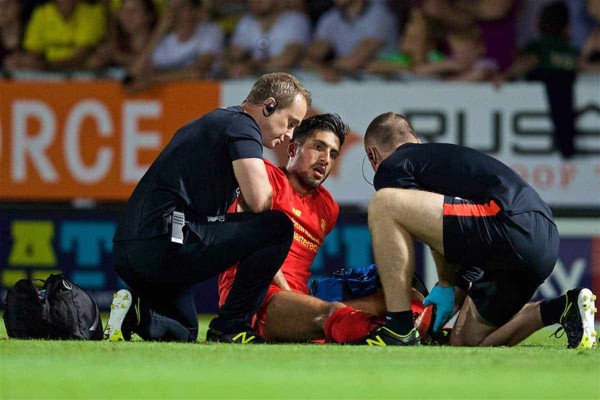 BURTON-UPON-TRENT, ENGLAND - Tuesday, August 23, 2016: Liverpool's Emre Can is treated for an injury during the Football League Cup 2nd Round match against Burton Albion at the Pirelli Stadium. (Pic by David Rawcliffe/Propaganda)