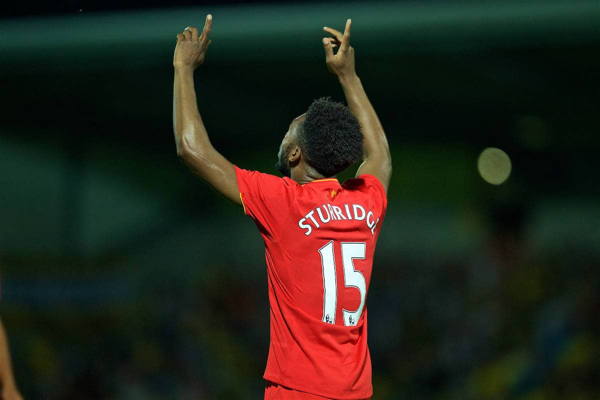 BURTON-UPON-TRENT, ENGLAND - Tuesday, August 23, 2016: Liverpool's Daniel Sturridge celebrates scoring the fourth goal against Burton Albion during the Football League Cup 2nd Round match at the Pirelli Stadium. (Pic by David Rawcliffe/Propaganda)