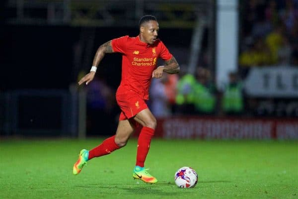 BURTON-UPON-TRENT, ENGLAND - Tuesday, August 23, 2016: Liverpool's Nathaniel Clyne in action against Burton Albion during the Football League Cup 2nd Round match at the Pirelli Stadium. (Pic by David Rawcliffe/Propaganda)