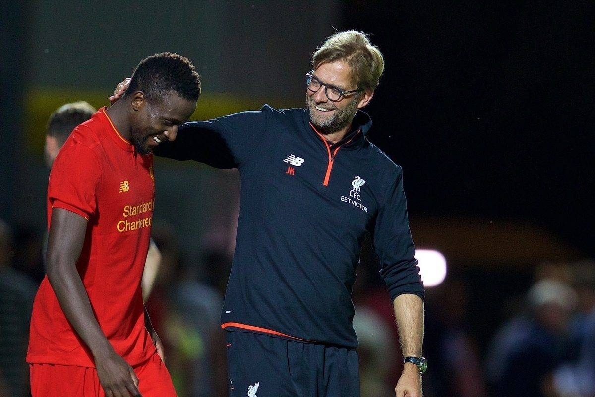 BURTON-UPON-TRENT, ENGLAND - Tuesday, August 23, 2016: Liverpool's manager J¸rgen Klopp and Divock Origi after the 5-0 victory over Burton Albion during the Football League Cup 2nd Round match at the Pirelli Stadium. (Pic by David Rawcliffe/Propaganda)