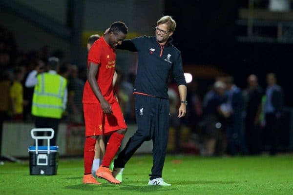 Liverpool's manager Jürgen Klopp and Divock Origi after the 5-0 victory over Burton Albion during the Football League Cup 2nd Round match at the Pirelli Stadium. (Pic by David Rawcliffe/Propaganda)
