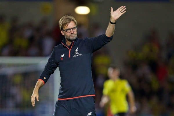 BURTON-UPON-TRENT, ENGLAND - Tuesday, August 23, 2016: Liverpool's manager Jürgen Klopp after the 5-0 victory over Burton Albion during the Football League Cup 2nd Round match at the Pirelli Stadium. (Pic by David Rawcliffe/Propaganda)