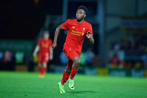 Liverpool's Daniel Sturridge in action against Burton Albion during the Football League Cup 2nd Round match at the Pirelli Stadium. (Pic by David Rawcliffe/Propaganda)