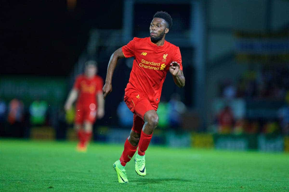 BURTON-UPON-TRENT, ENGLAND - Tuesday, August 23, 2016: Liverpool's Daniel Sturridge in action against Burton Albion during the Football League Cup 2nd Round match at the Pirelli Stadium. (Pic by David Rawcliffe/Propaganda)