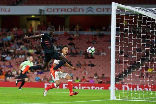 LONDON, ENGLAND - Friday, August 26, 2016: Liverpool's Toni Gomes scores the third goal against Arsenal during the FA Premier League 2 Under-23 match at the Emirates Stadium. (Pic by David Rawcliffe/Propaganda)