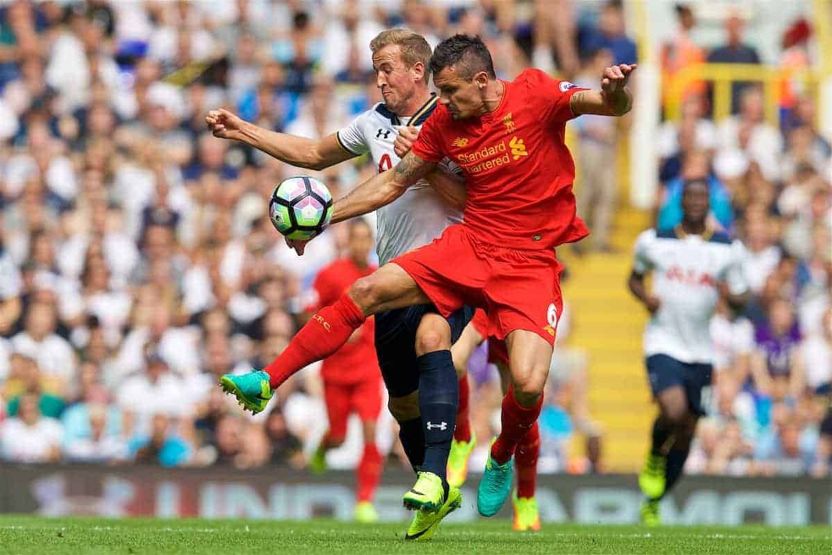 LONDON, ENGLAND - Saturday, August 27, 2016: Liverpool's Dejan Lovren in action against Tottenham Hotspur's Harry Kane during the FA Premier League match at White Hart Lane. (Pic by David Rawcliffe/Propaganda)