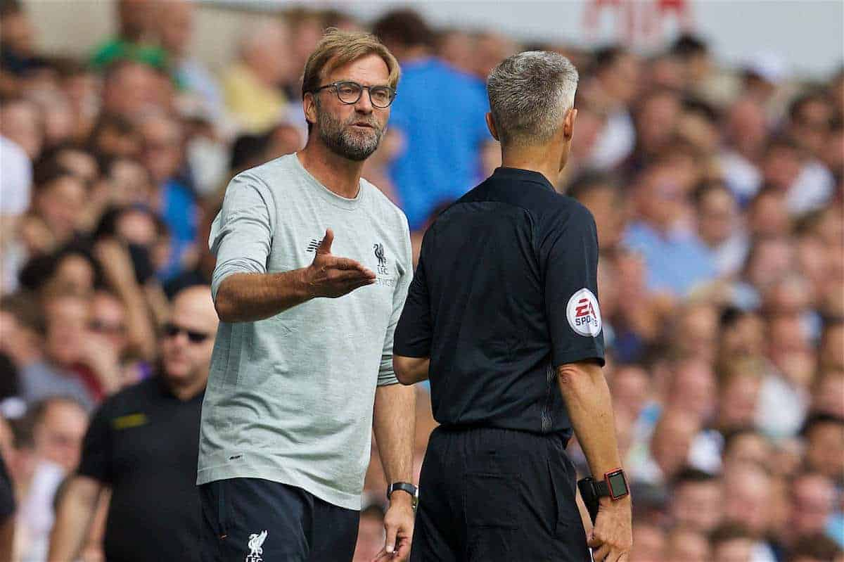 LONDON, ENGLAND - Saturday, August 27, 2016: Liverpool's manager Jürgen Klopp argues with the assistant referee during the FA Premier League match against Tottenham Hotspur at White Hart Lane. (Pic by David Rawcliffe/Propaganda)