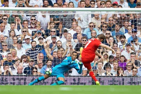 Liverpool's James Milner scores the first goal against Tottenham Hotspur's goalkeeper Michel Vorm from the penalty spot during the FA Premier League match at White Hart Lane. (Pic by David Rawcliffe/Propaganda)