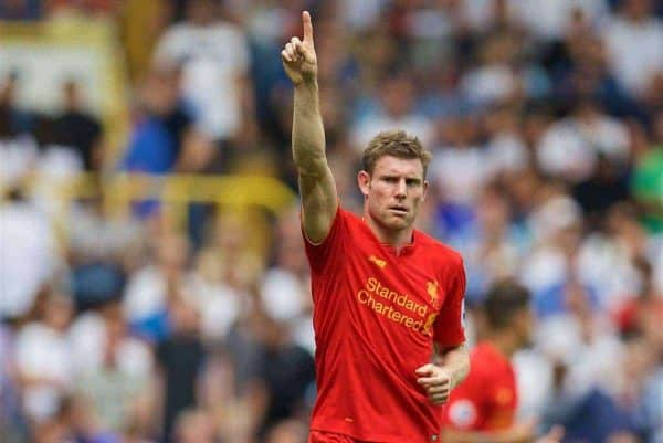 Liverpool's James Milner celebrates scoring the first goal against Tottenham Hotspur from the penalty spot during the FA Premier League match at White Hart Lane. (Pic by David Rawcliffe/Propaganda)