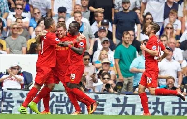 LONDON, ENGLAND - Saturday, August 27, 2016: Liverpool's James Milner celebrates scoring the first goal against Tottenham Hotspur from the penalty spot during the FA Premier League match at White Hart Lane. (Pic by David Rawcliffe/Propaganda)