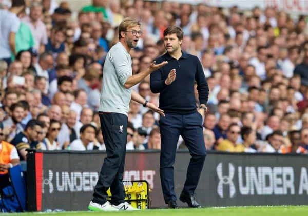 LONDON, ENGLAND - Saturday, August 27, 2016: Liverpool's manager Jürgen Klopp and Tottenham Hotspur's manager Mauricio Pochettino during the FA Premier League match at White Hart Lane. (Pic by David Rawcliffe/Propaganda)