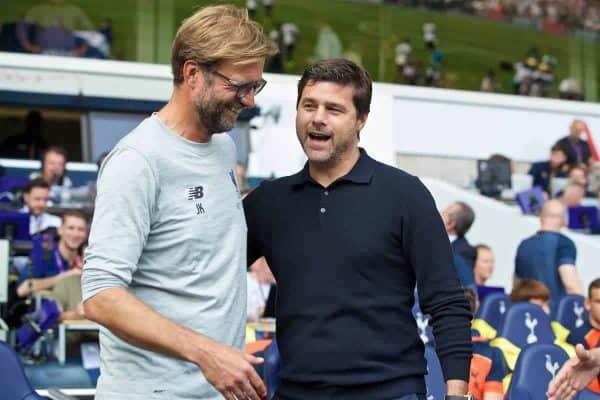 Liverpool's manager Jürgen Klopp and Tottenham Hotspur's manager Mauricio Pochettino before the FA Premier League match at White Hart Lane. (Pic by David Rawcliffe/Propaganda)